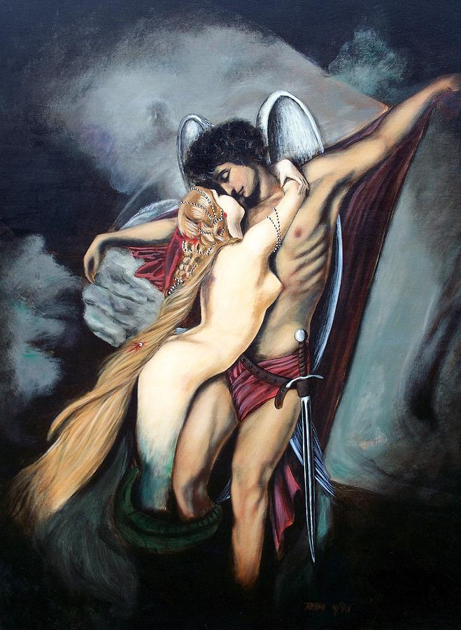 The Arcangel Micheal And  The Mermaid Painting