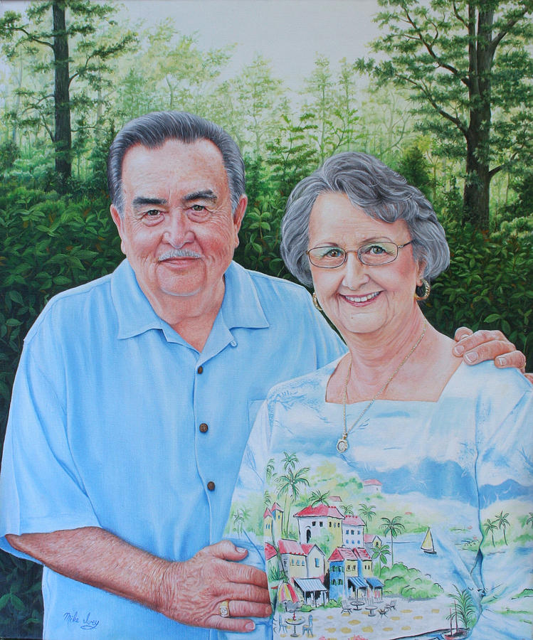Portraits Painting - The Armstrongs by Mike Ivey
