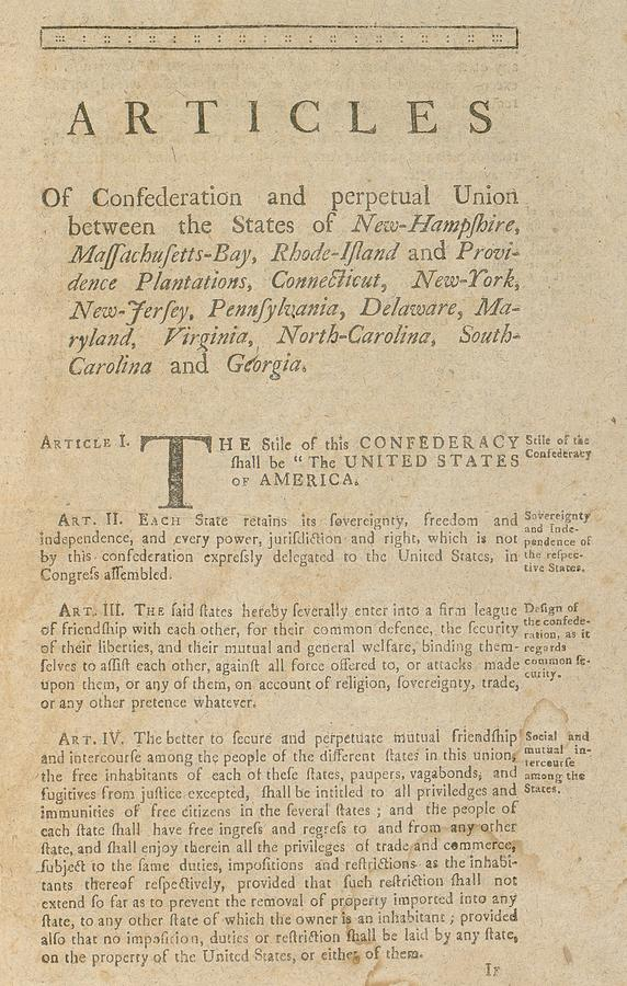 a history of the articles of confederation The articles of confederation is the document that was the basis for the united states government prior to that established in the constitution the phrase a more perfect union in the preamble refers to the imperfections in the union under the articles.