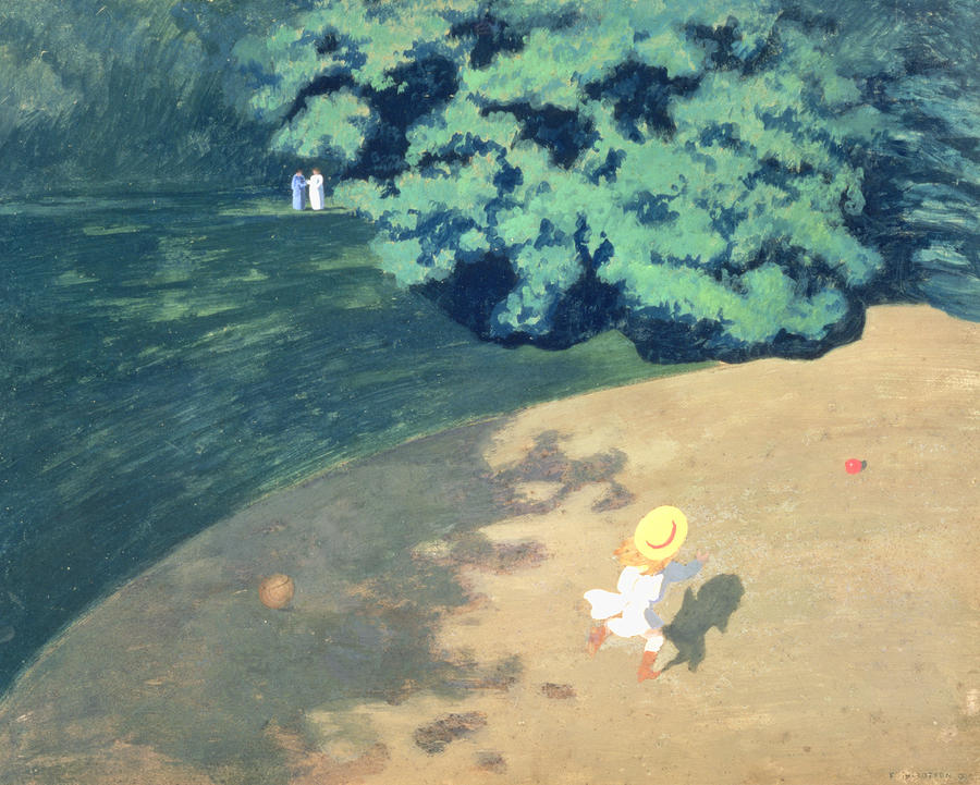 The Balloon Or Corner Of A Park With A Child Playing With A Balloon Painting  - The Balloon Or Corner Of A Park With A Child Playing With A Balloon Fine Art Print