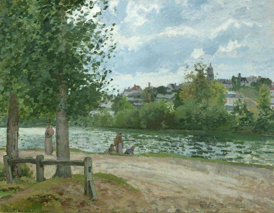 The Banks Of The Oise At Pontoise Painting  - The Banks Of The Oise At Pontoise Fine Art Print