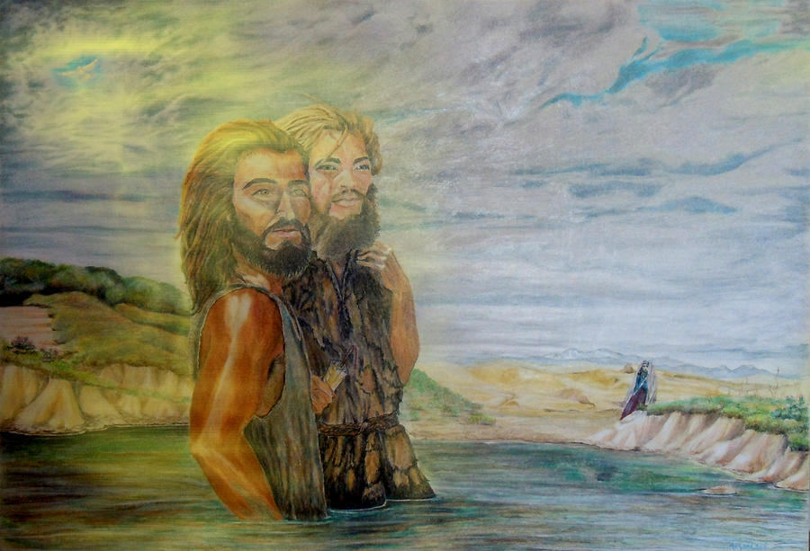 Jordan River Painting - The Baptism Of Yeshua Messiah by Anastasia Savage Ealy