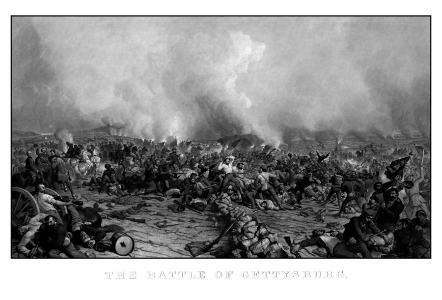 The Battle Of Gettysburg Drawing  - The Battle Of Gettysburg Fine Art Print