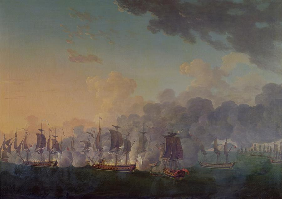 The Battle Of Louisbourg On The 21st July 1781 Painting