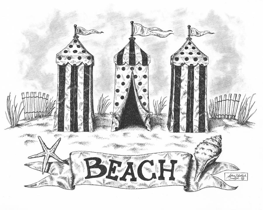The Beach Drawing  - The Beach Fine Art Print