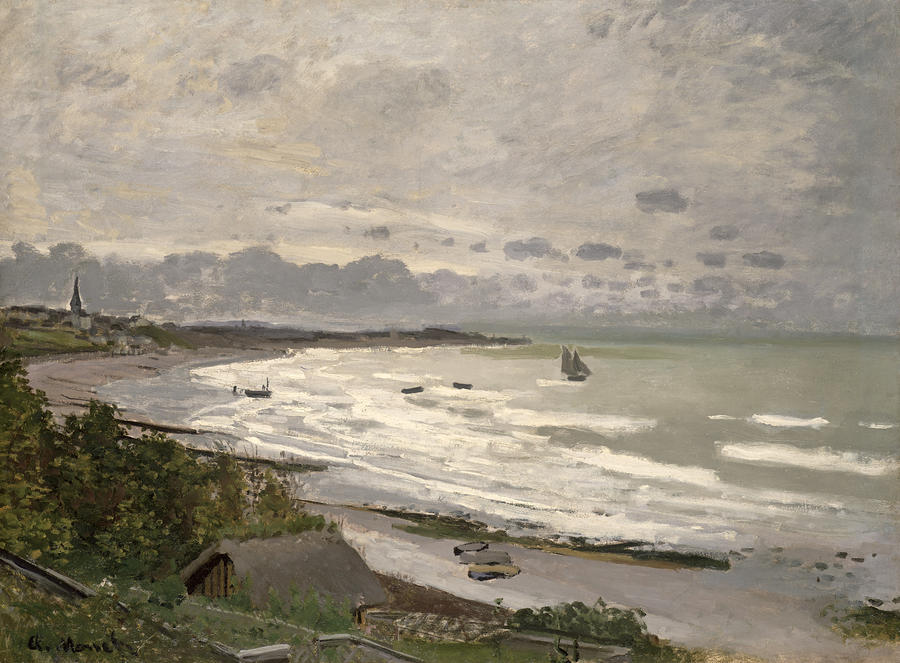 The Beach At Sainte Adresse Painting  - The Beach At Sainte Adresse Fine Art Print