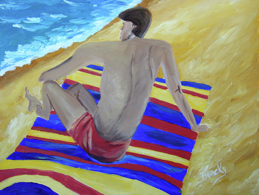 The Beach Towel Painting  - The Beach Towel Fine Art Print