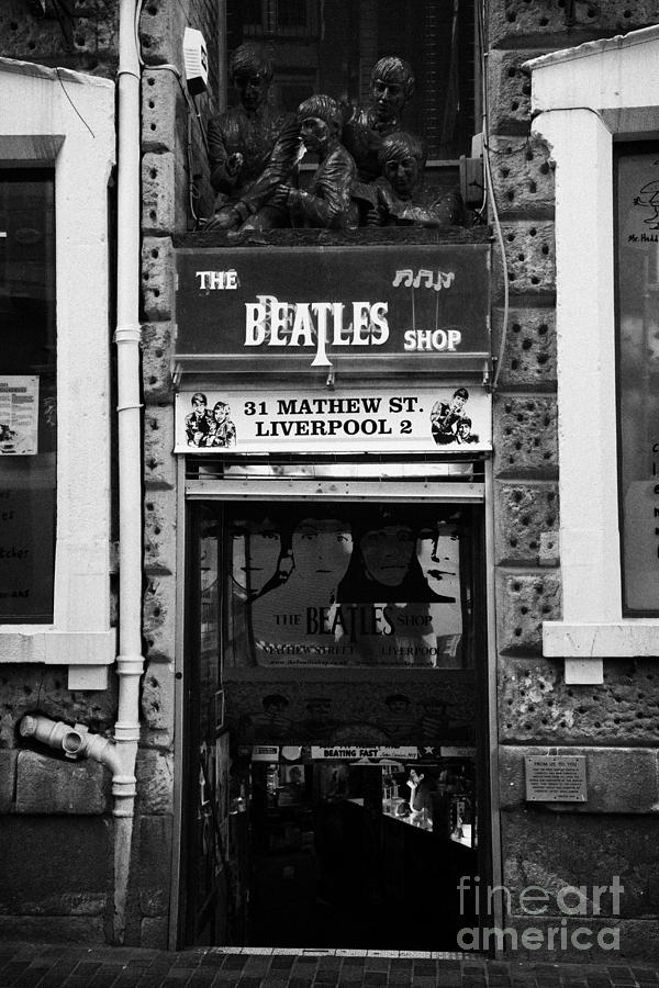 The Beatles Shop In Mathew Street In Liverpool City Centre Birthplace Of The Beatles Merseyside  Photograph  - The Beatles Shop In Mathew Street In Liverpool City Centre Birthplace Of The Beatles Merseyside  Fine Art Print