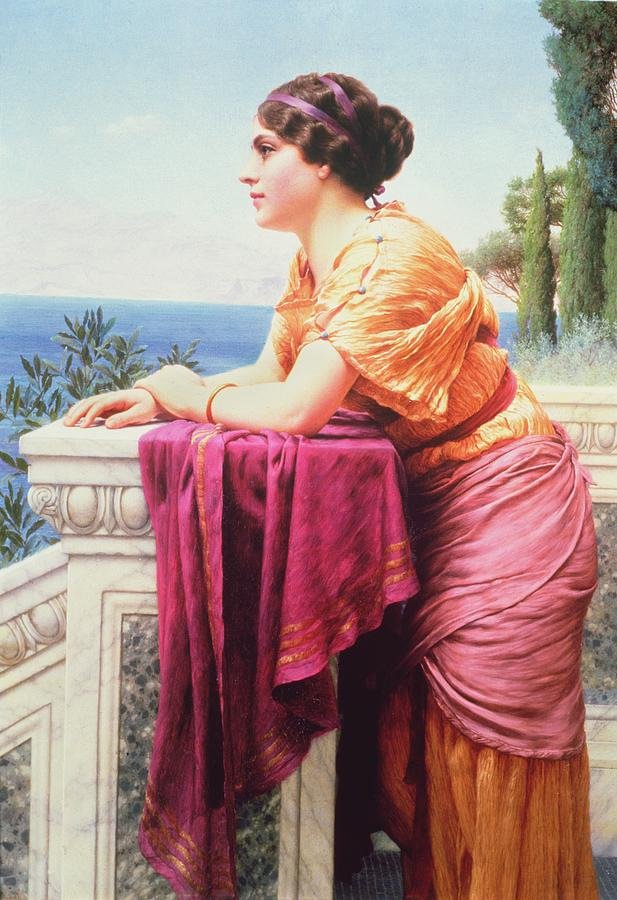 The Belvedere By John William Godward (1861-1922) Neoclassical; Victorian; Gazing; Sea; Dreaming; View; Lean Painting - The Belvedere by John William Godward
