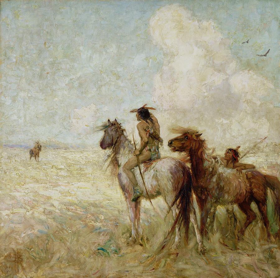 The Bison Hunters Painting  - The Bison Hunters Fine Art Print