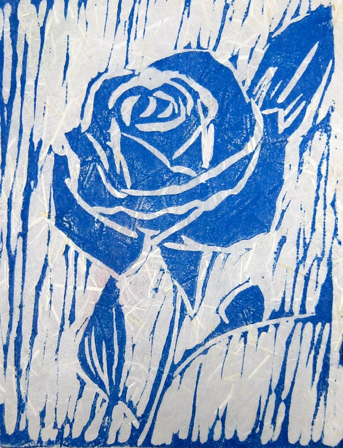 The Blue Rose Relief  - The Blue Rose Fine Art Print