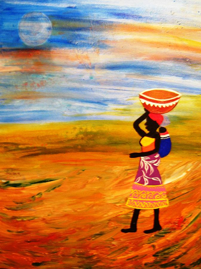 Black Women Paintings Painting - The Bond by Fatima Pardhan