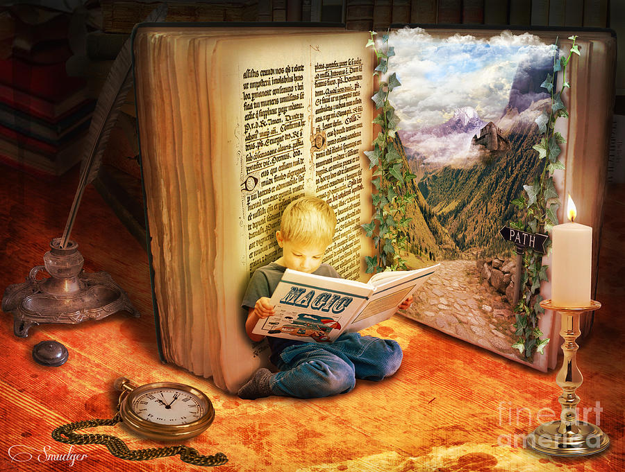 The Book Of Magic Digital Art  - The Book Of Magic Fine Art Print