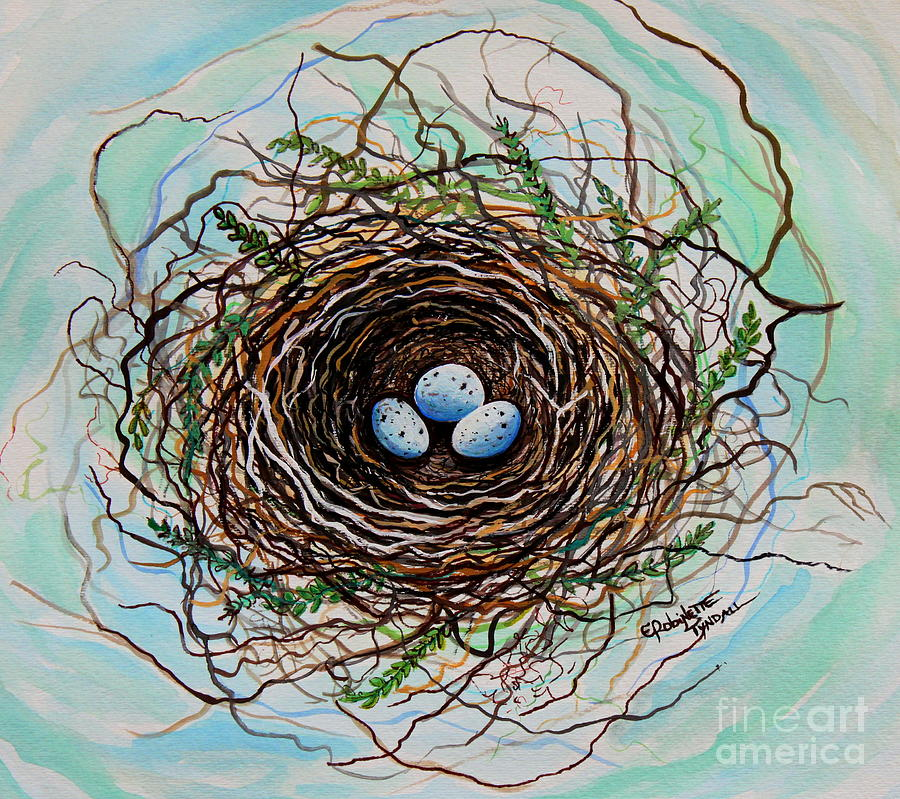 The Botanical Bird Nest Painting  - The Botanical Bird Nest Fine Art Print