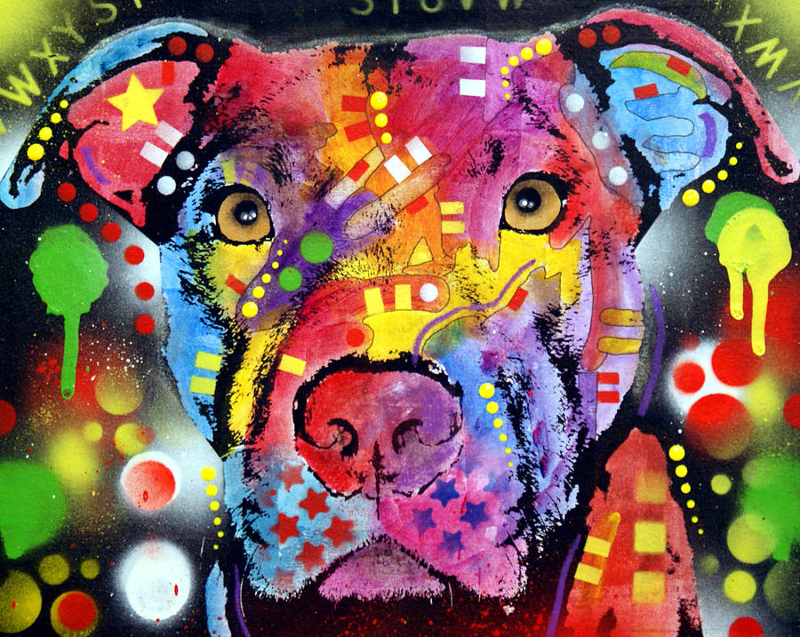 The Brooklyn Pitbull 1 Painting  - The Brooklyn Pitbull 1 Fine Art Print