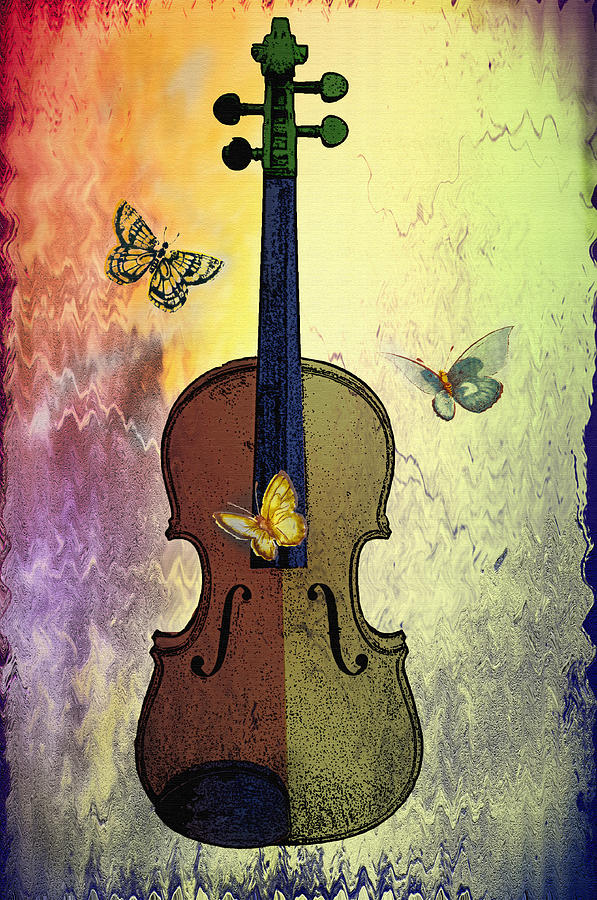 The Butterflies And The Violin Photograph  - The Butterflies And The Violin Fine Art Print