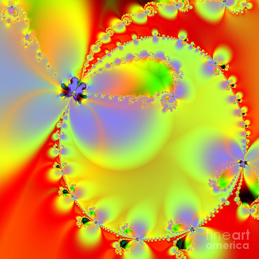 Fractal Digital Art - The Butterfly Effect . Summer . Square by Wingsdomain Art and Photography