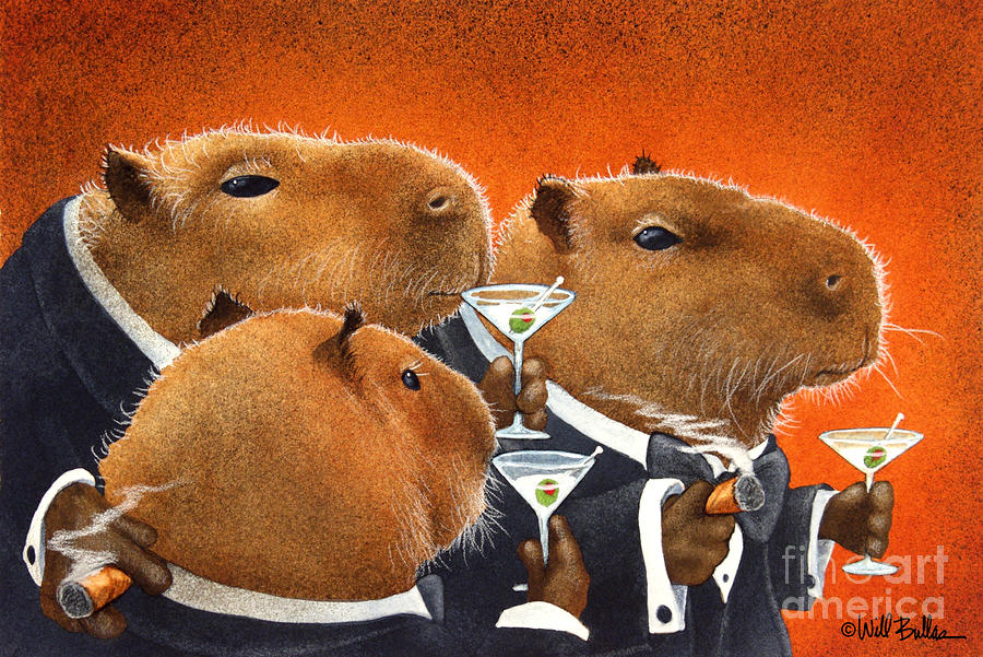 The Capybara Club... Painting  - The Capybara Club... Fine Art Print