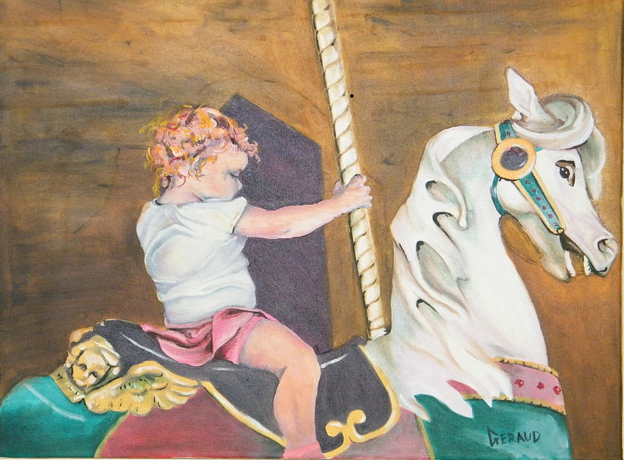 The Carousel Rider Painting  - The Carousel Rider Fine Art Print