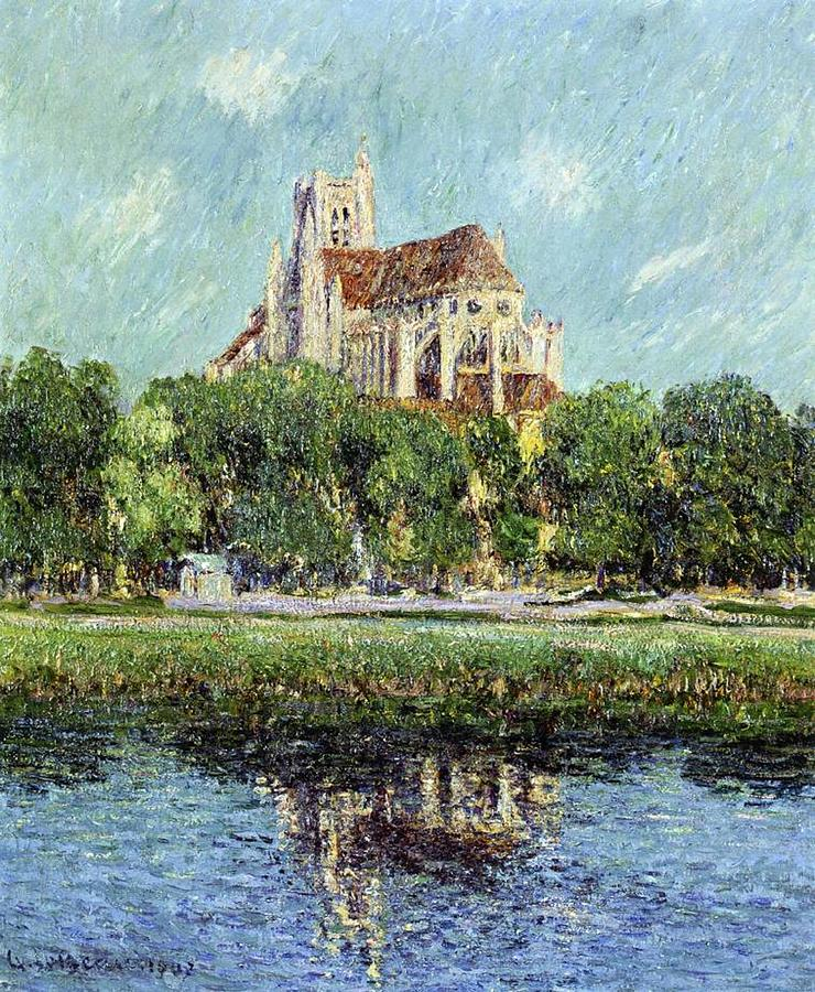 The Cathedral At Auxerre Painting  - The Cathedral At Auxerre Fine Art Print