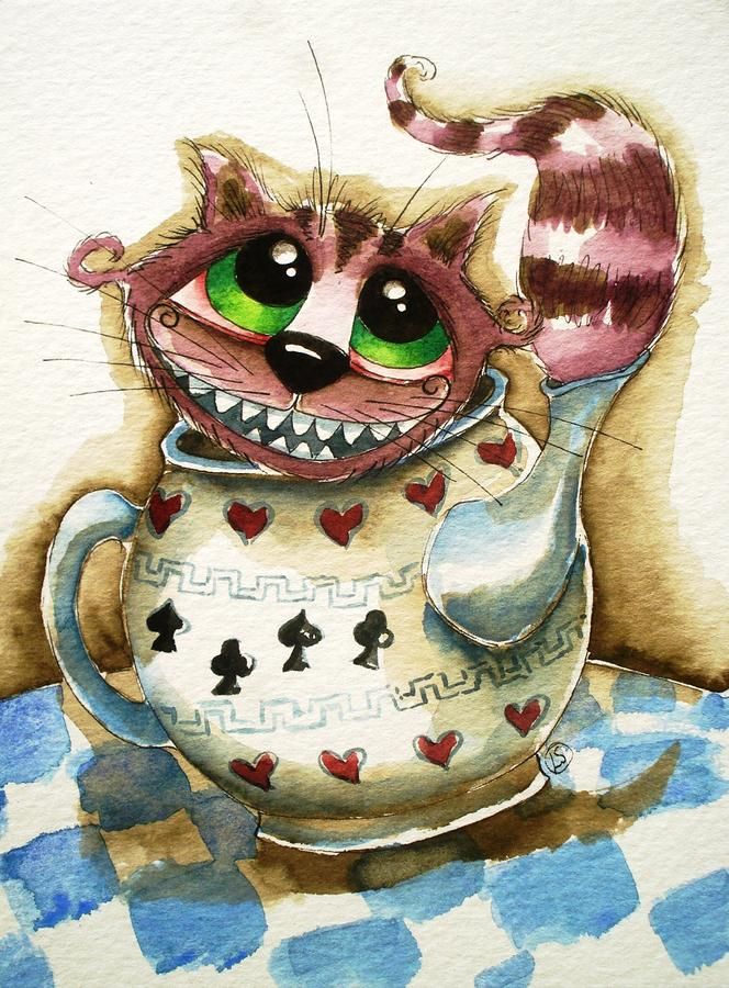The Cheshire Cat - In A Teapot Painting