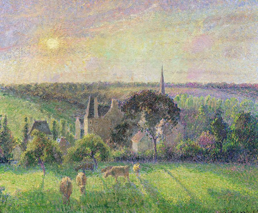 The Church And Farm Of Eragny Painting