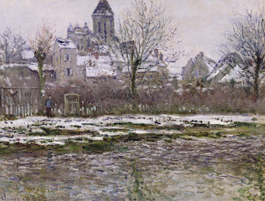 The Church At Vetheuil Under Snow Painting  - The Church At Vetheuil Under Snow Fine Art Print