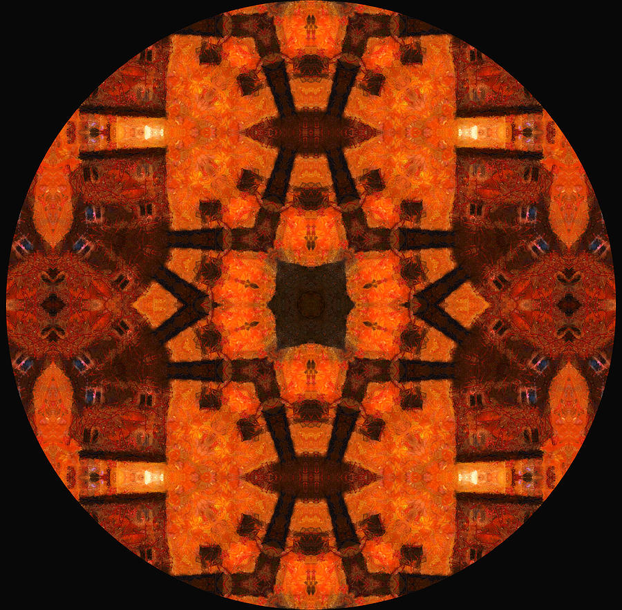 The Color Orange Mandala Abstract Mixed Media
