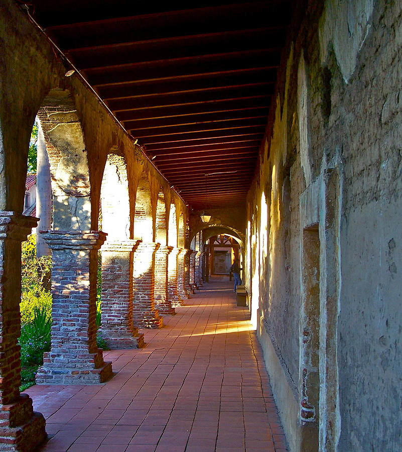 The Corridor By The Serra Chapel San Juan Capistrano Mission California Photograph  - The Corridor By The Serra Chapel San Juan Capistrano Mission California Fine Art Print