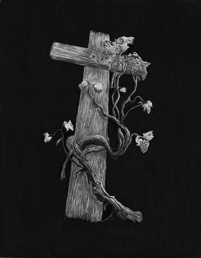 The Cross And The Vine Drawing  - The Cross And The Vine Fine Art Print