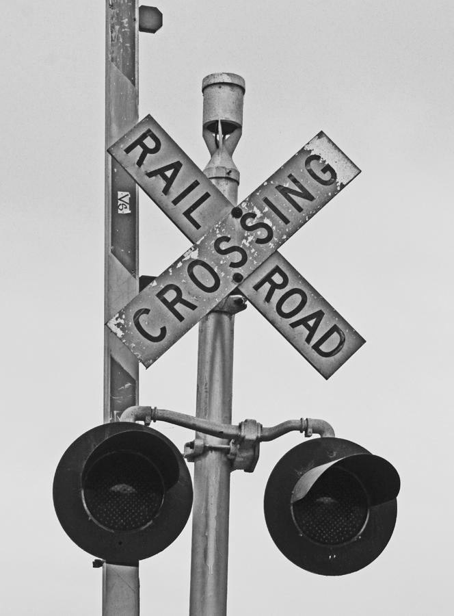 Railroad Crossing Photograph - The Crossing by Caroline Lomeli