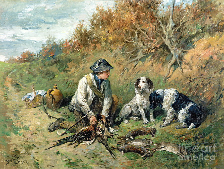 Pheasant; Rabbit; Hare; Gamekeeper; Bird; Shoot; Dog; Dogs; Game Keeper Painting - The Days Bag by John Emms