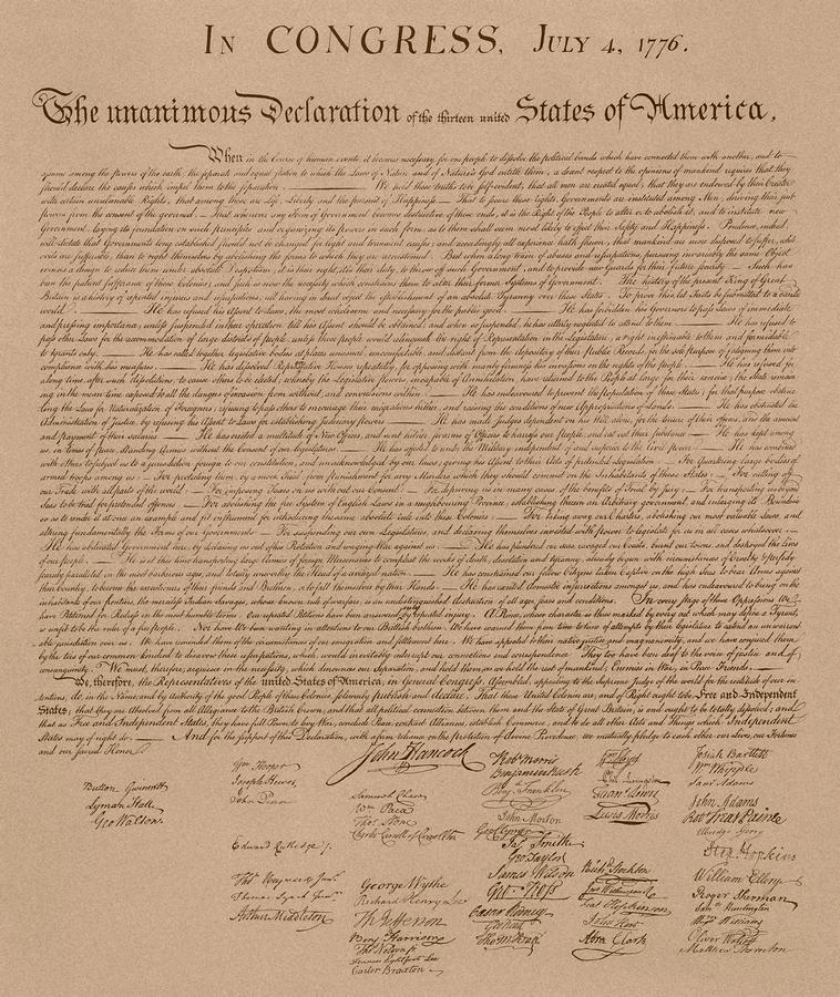 The Declaration Of Independence Drawing  - The Declaration Of Independence Fine Art Print