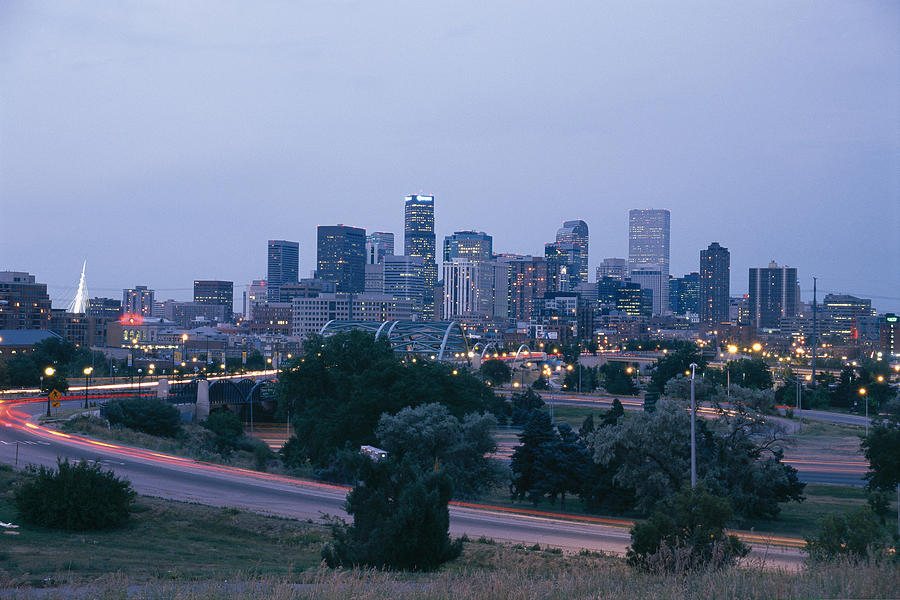The Denver Skyline At Dusk Photograph  - The Denver Skyline At Dusk Fine Art Print