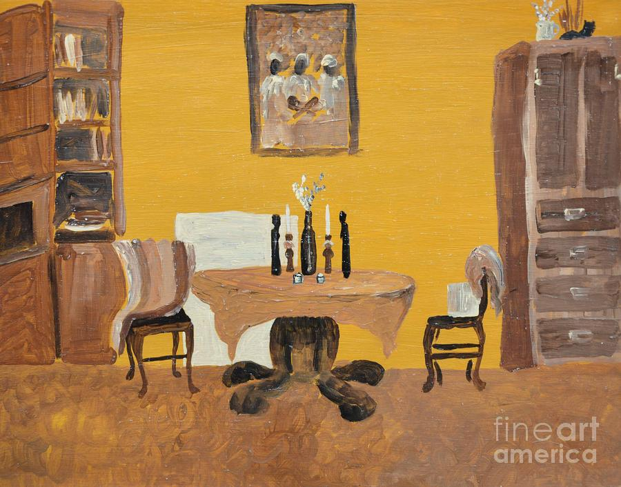 The Dining Room - Yellow Painting by Reb Frost - The Dining Room