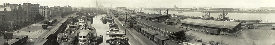 The Docks At Cologne - Germany - C. 1921 Photograph  - The Docks At Cologne - Germany - C. 1921 Fine Art Print
