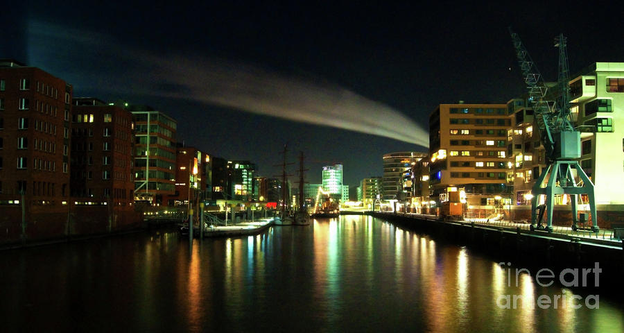 The Docks Of Hamburg By Night Photograph