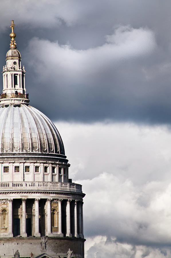 Vertical Photograph - The Dome Of St Pauls Cathedral Against Stormy Sky by Sarah Franklin www.eyeshoot.co.uk