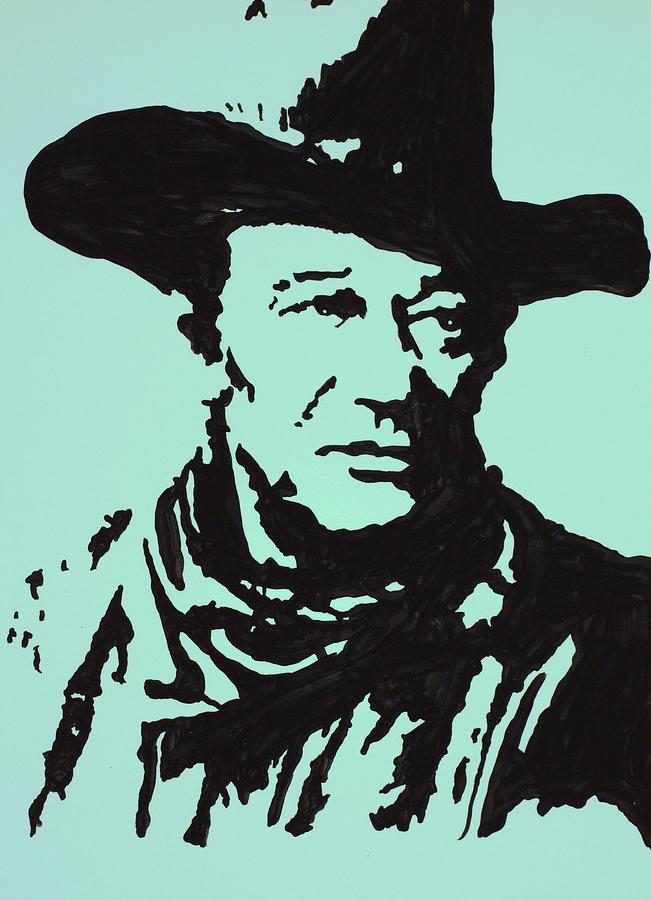 John Wayne Drawing - The Duke In Color by Robert Margetts