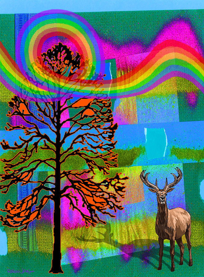 The Earth Rejoices Series Deer And Basswood Digital Art  - The Earth Rejoices Series Deer And Basswood Fine Art Print