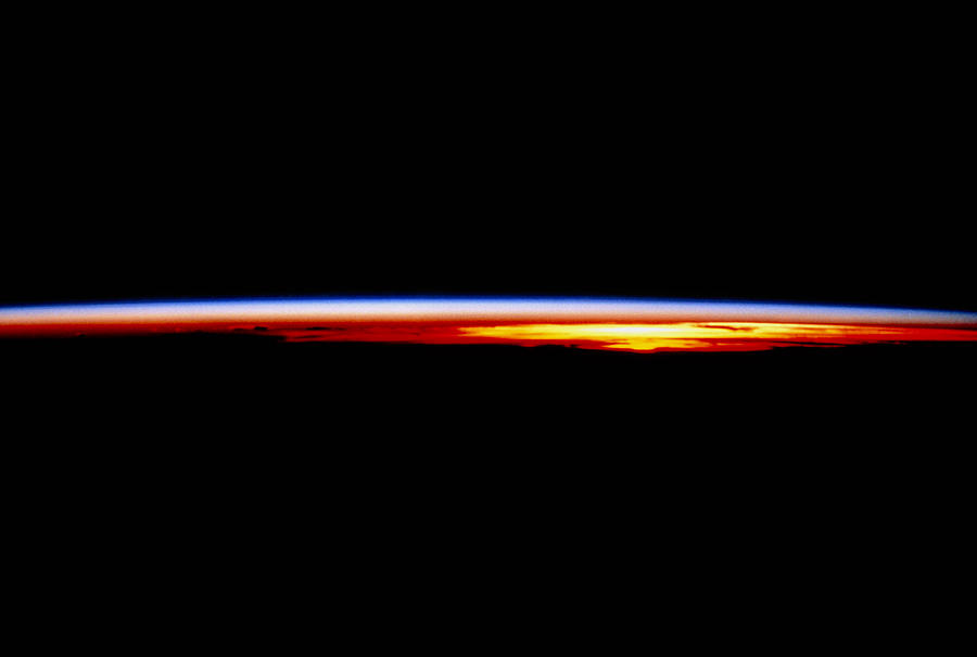 The Earth's Atmosphere At Sunrise Seen From Orbit ...