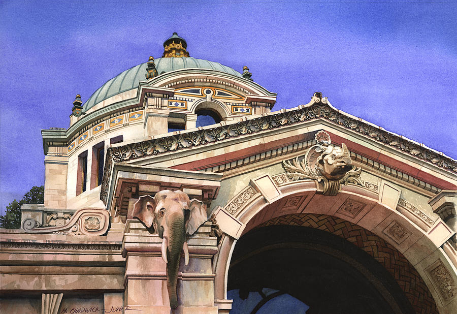 The Elephant House Bronx Zoo Painting  - The Elephant House Bronx Zoo Fine Art Print