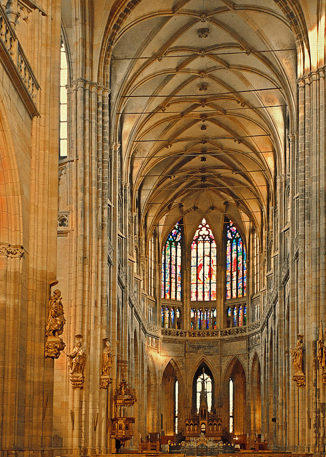 The Enormous Interior Of St. Vitus Cathedral Prague Photograph