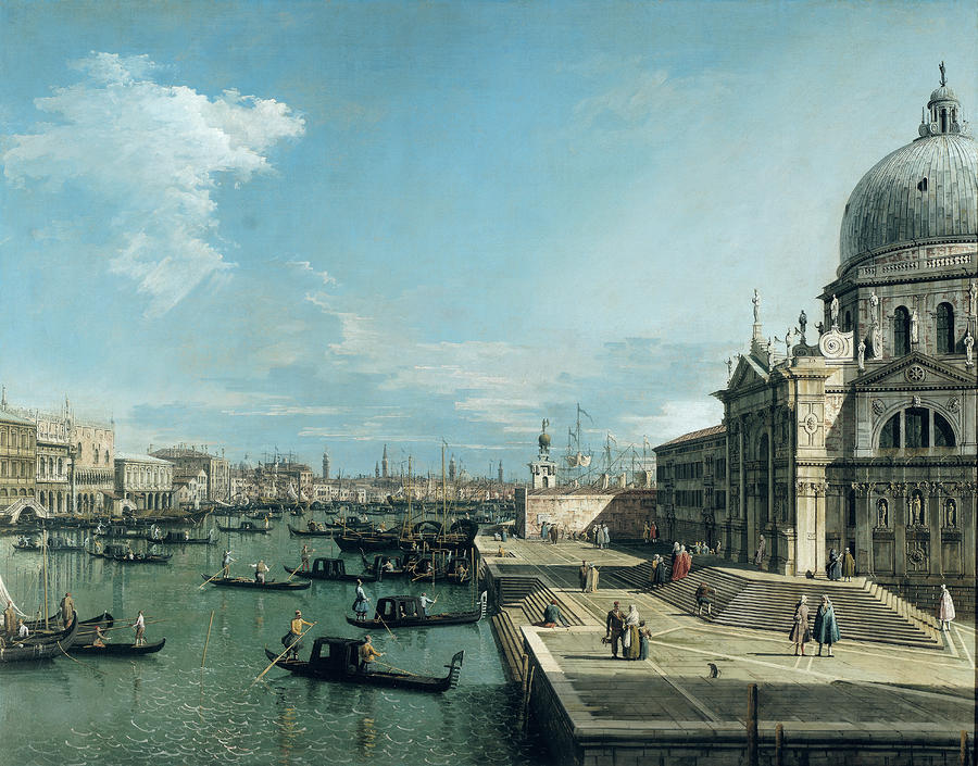 The Entrance To The Grand Canal And The Church Of Santa Maria Della Salute Painting