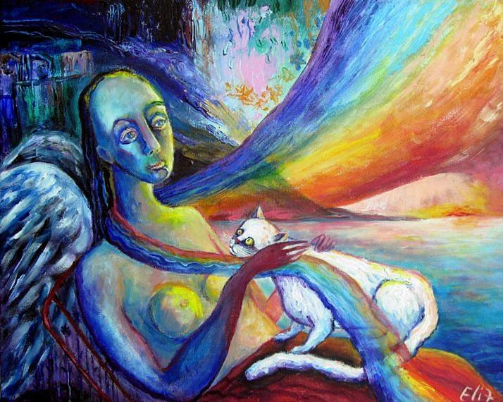 Tenderness Painting - The Fallen Rainbow by Elisheva Nesis