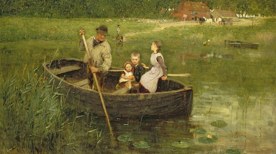 The Ferry Painting - The Ferry by Edward Stott