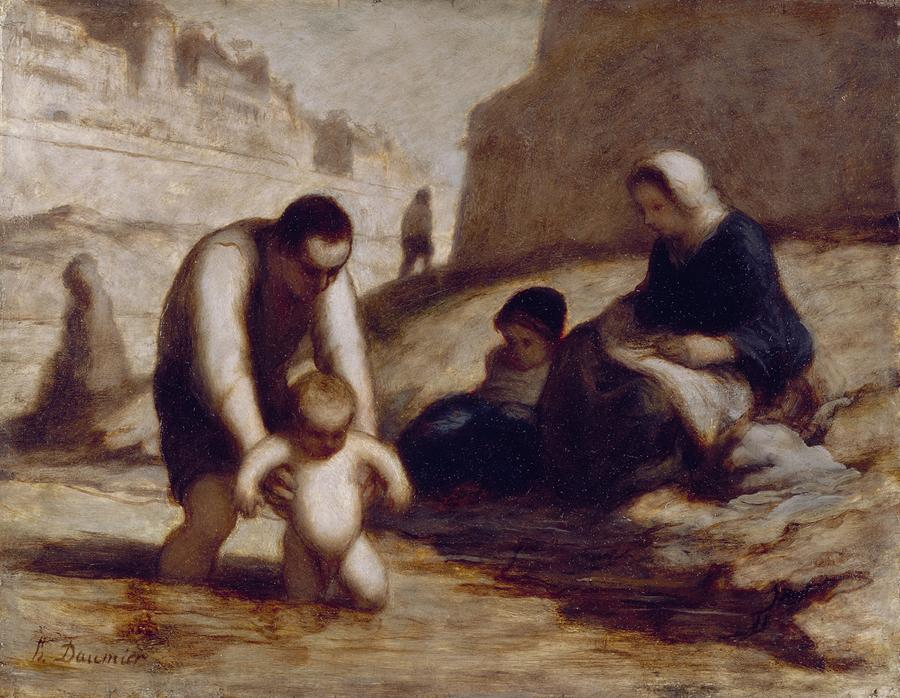The First Bath  Painting