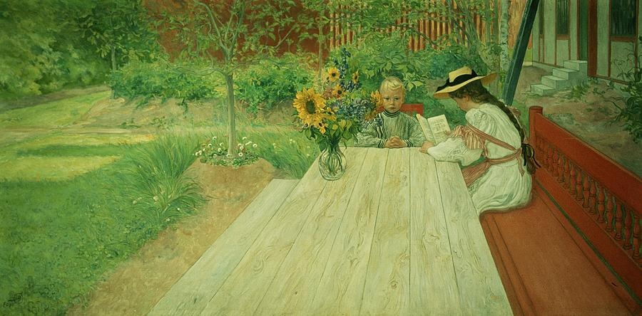 Sunflower; Straw Hat; Reading Painting - The First Lesson by Carl Larsson