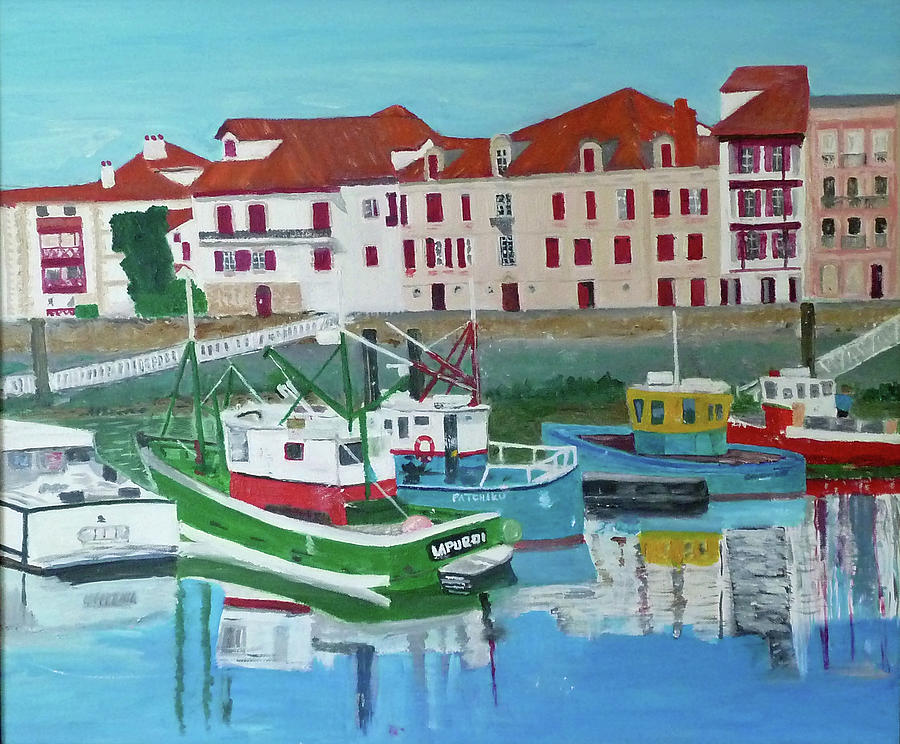 The Fishermans Harbour St Jean De Luz South West France Painting