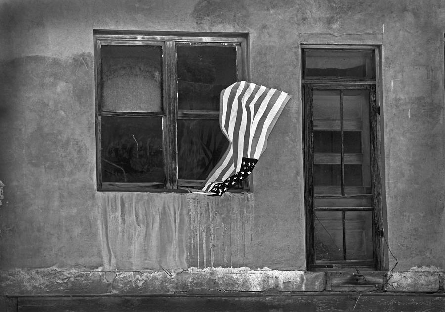 The Flag A Window And A Door Photograph  - The Flag A Window And A Door Fine Art Print